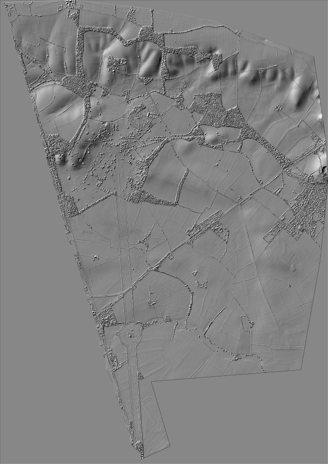 LiDar map of the Wimpole parish