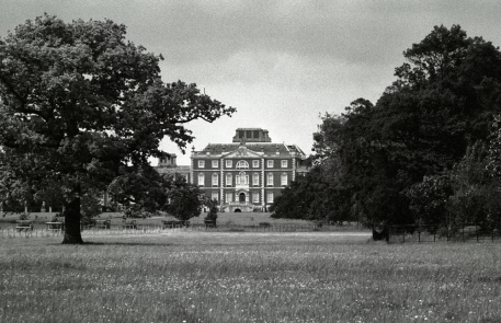 Looking back from the Whaddon view to the main 1640 central block of the Hall