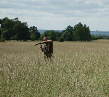 Paul mowing the quarter acre plots