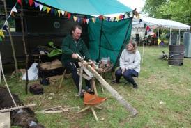 Mark making an English scythe snath