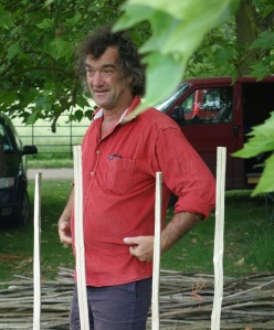 Mick Thwaites demonstrating hurdle making