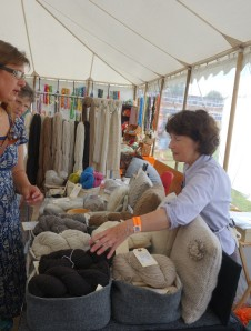 Jean Cairns selling Wimpole's wool.