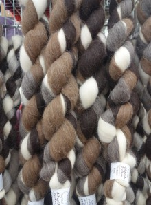 Felted wool in rough spun hanks