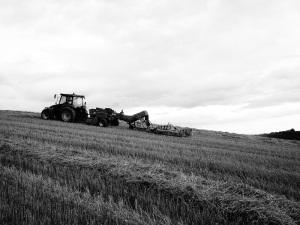 Matt Radford baling the oat straw