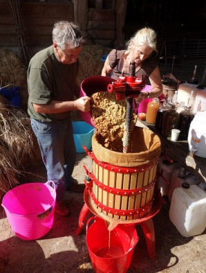 The pomace then goes into the press; this ninety litre press needs five bushels of apples and pears
