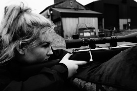 Ellie practicing her aim