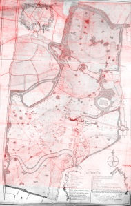 1774 estate map over laying Eames plan of 1790
