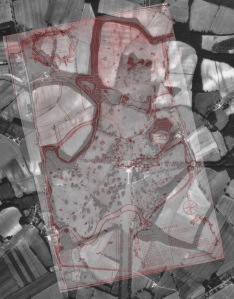 Eames plan 1790 over laying 1960 aerial photograph of estate