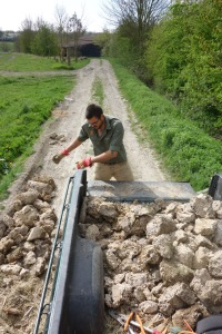 Recyling the concrete into the farm tracks