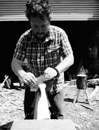 Gordon making his axe handle