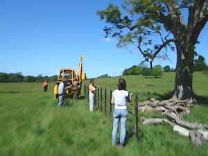 CNTV putting up the park rail fence