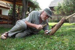 Sharpening the scythe blades