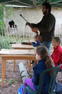 Children having a go with the air rifle