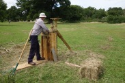Alistair baling some hay from the Folly manually!