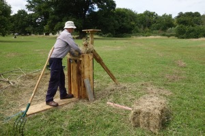 Alistiar baling some hay from the folly manually!