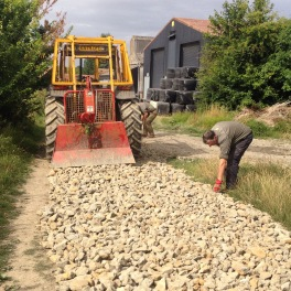Started to put more limestone in the farm track to combat the mud in the winter