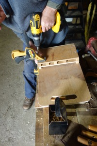 Peter making new tool boxes for the bodgers