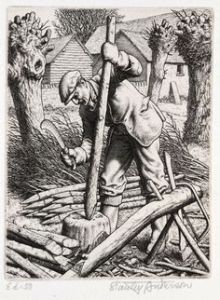 Stanley Anderson's etching making hedge stakes