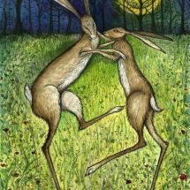 The Relentless Affection - Boxing Hares Art Print folksy.com
