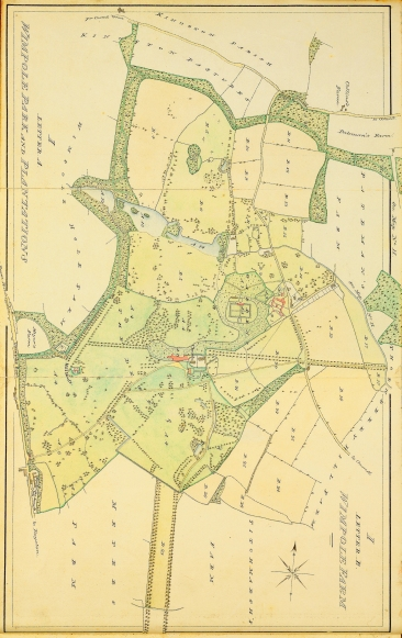 The map of Home farm on the Wimpole Estate 1828