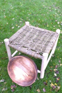 willow seated stool and bowl